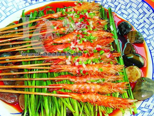 韭香串烤虾的做法