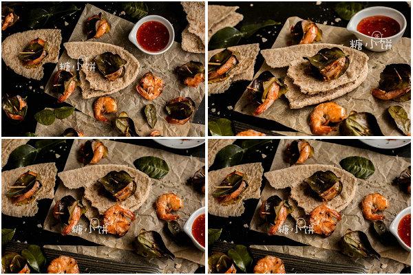 青柠叶包烤甜辣虾的做法
